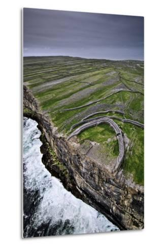 Atlantic Waves Crash on the Cliffs Beneath the Ancient Dun Aengus-Jim Richardson-Metal Print