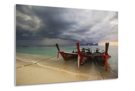 Thai Fishing Boats Beached on Phi Phi Island During a Storm-Alex Saberi-Metal Print