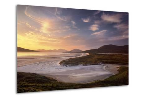 Sunset Illuminates Luskentyre Strand and Its Serpentine Coastline-Jim Richardson-Metal Print