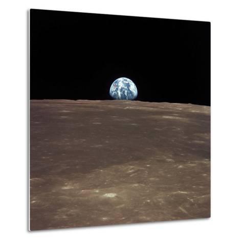 Earth Rising Above the Moon's Horizon-Stocktrek Images-Metal Print