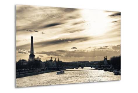 Sunset on the Alexander III Bridge - Eiffel Tower - Paris-Philippe Hugonnard-Metal Print
