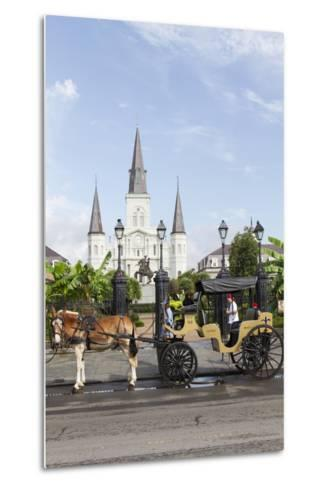 Statue, St. Louis Cathedral, Jackson Square, French Quarter, New Orleans, Louisiana, USA-Jamie & Judy Wild-Metal Print