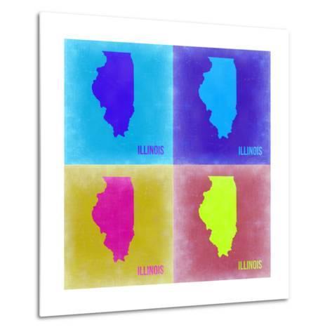 Illinois Pop Art Map 2-NaxArt-Metal Print