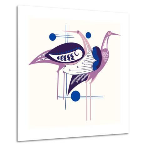 Deco Cranes--Metal Print