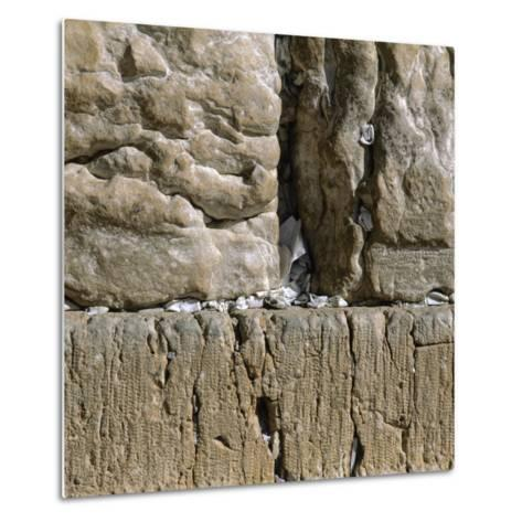 Pieces of Paper with Written Prayers Placed in the Wailing Wall by Pious Jews--Metal Print