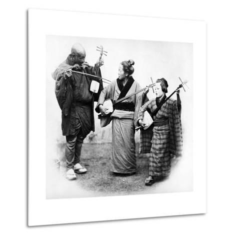 Japanese Musicians, C.1860s-Felice Beato-Metal Print