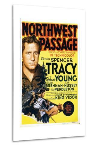 NORTHWEST PASSAGE, left: Spencer Tracy on midget window card, 1940--Metal Print