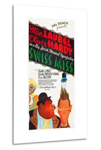 SWISS MISS, l-r: Oliver Hardy, Stan Laurel on poster art, 1938--Metal Print