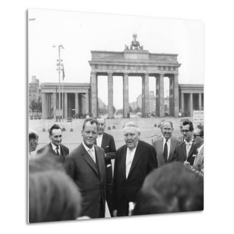 Ludwig Erhard and Willy Brandt, Mayor of West Berlin, Inspect the Sector Border at Brandenburg…-German School-Metal Print