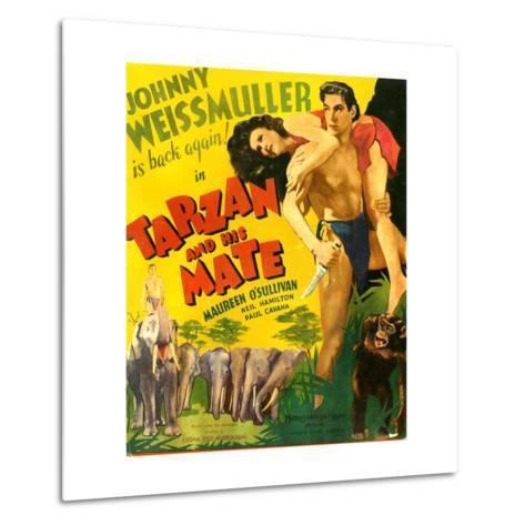 TARZAN AND HIS MATE, from left: Maureen O'Sullivan, Johnny Weissmuller, 1934.--Metal Print