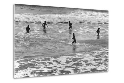Children Playing in Sea, Somnath--Metal Print