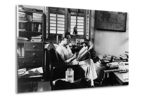 Satyajit Ray at Work in His Apartment--Metal Print