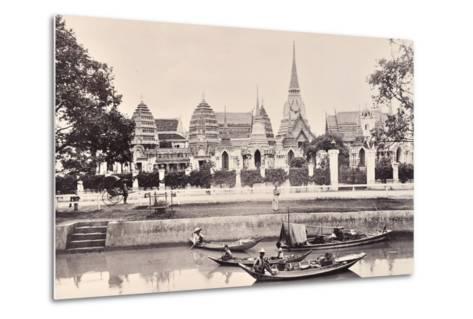 View of a Canal in Bangkok, C.1890-Robert Lenz-Metal Print