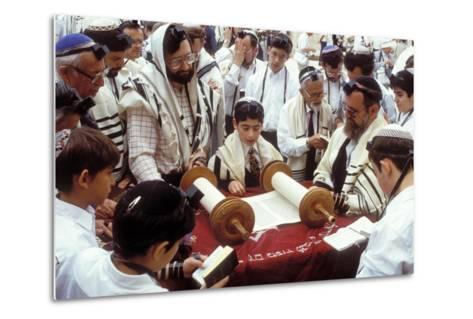 A Boy Reading the Torah During His Bar Mitzvah--Metal Print