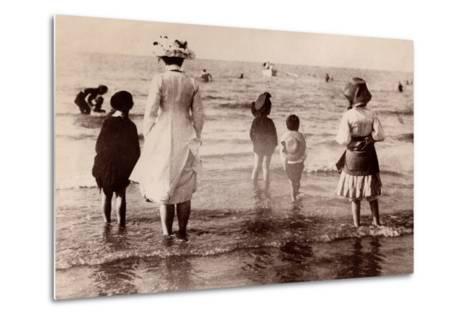Family at the Beach, 1890--Metal Print