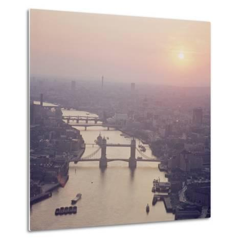 View of the River Thames Featuring Tower Bridge, Looking West--Metal Print