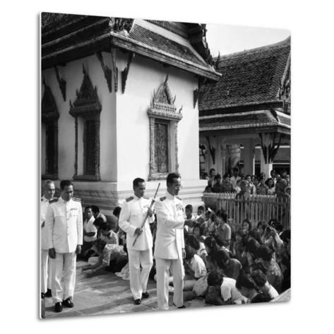 His Majesty King Bhumibol Adulyadej Blessing the Crowd at the Emerald Temple Temple, 1978--Metal Print
