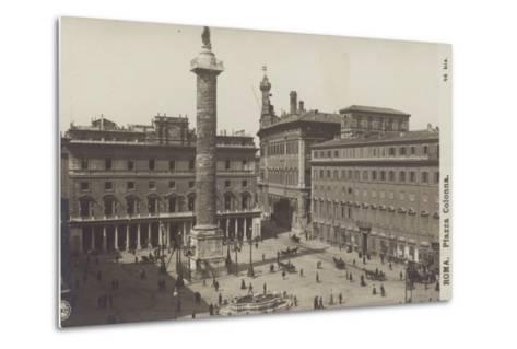 Postcard Depicting the Piazza Colonna--Metal Print