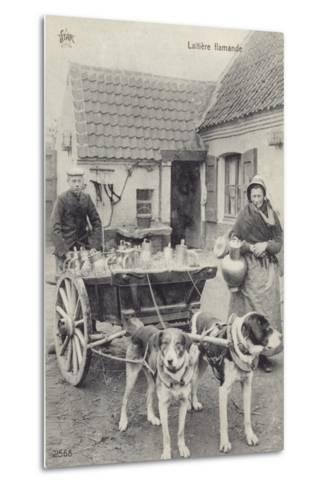 Flemish Milkmaid and Mobile Dairy--Metal Print
