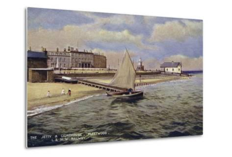 The Jetty and Lighthouse, Fleetwood--Metal Print