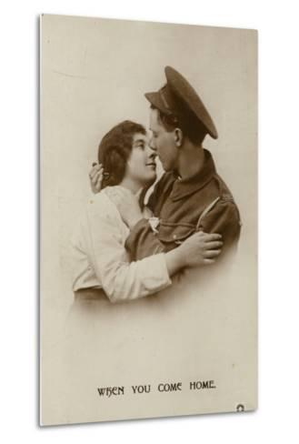 When You Come Home. a Soldier and His Swetheart--Metal Print