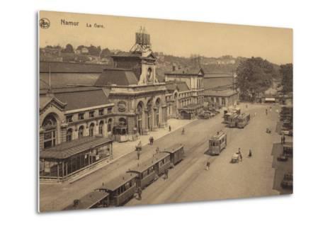 Postcard Depicting the Railway Station in Namur--Metal Print