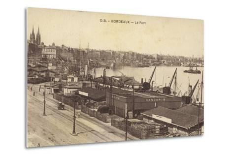 Postcard Depicting the Port in Bordeaux--Metal Print