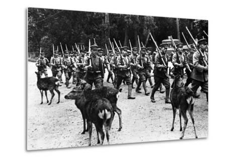 Japanese Troops Marching, C.1920-40--Metal Print