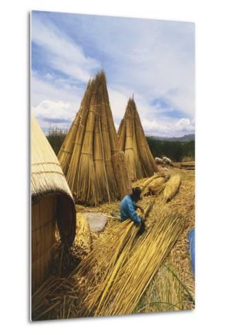 Peruvian Man Building 'Balsas'--Metal Print