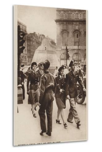 Piccadilly Circus, Girls and Boys on Leave--Metal Print