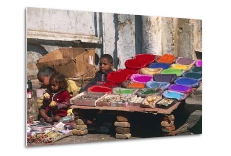 Children at a Colour Pigments Market Stand--Metal Print