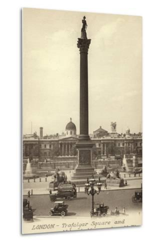 London, Trafalgar Square and Nelson's Monument--Metal Print