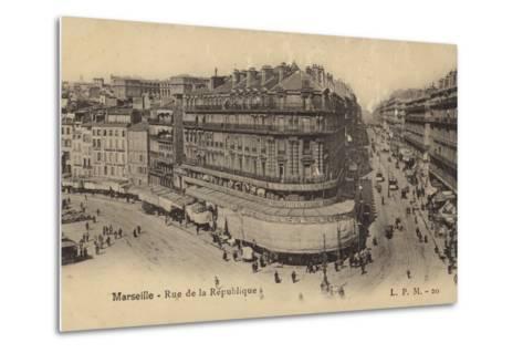 Postcard Depicting the Rue De La Republique--Metal Print