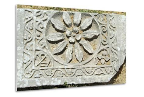 Decorative Carved Floral Design, Xanthos, Turkey--Metal Print