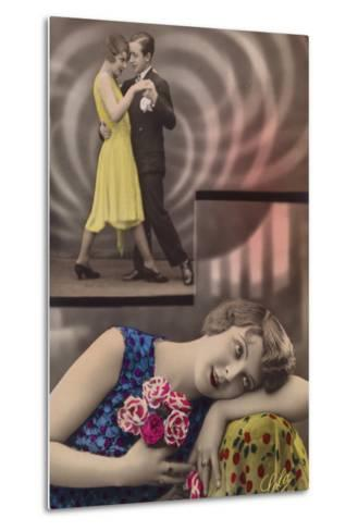 A Young Woman Daydreams About Dancing with a Man--Metal Print