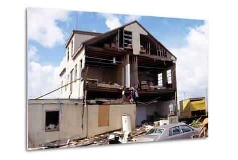 Damaged Building after Hurricane Andrew, 1992--Metal Print