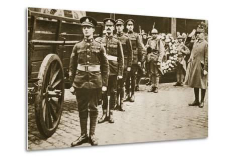 Marshal Foch Salutes the British Unknown Soldier--Metal Print