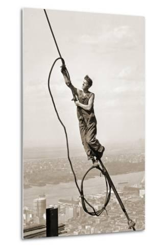 Construction Worker, Empire State Building, New York City, C.1930-Lewis Wickes Hine-Metal Print