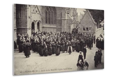 Postcard Depicting Crowds Gather Outside L'Eglise Saint-Nonna after Mass--Metal Print