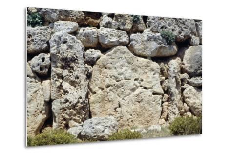 Walls of the Megalithic Temple of Ggantija--Metal Print