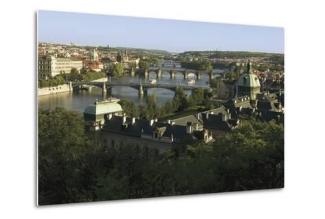 Prague Bridges and Straka Academy, Czech Republic--Metal Print