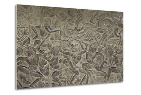 Relief from Angkor Wat Temple--Metal Print
