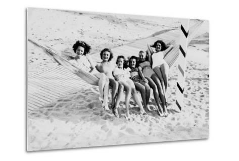How Many Women Fit in a Hammock? C.1940--Metal Print