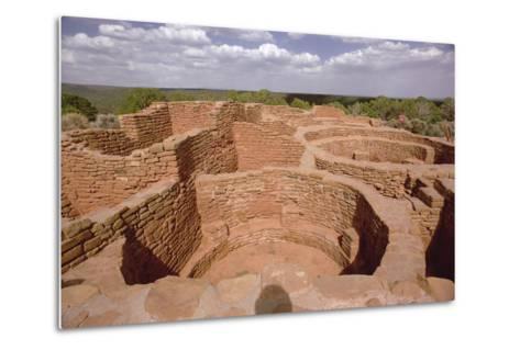 View of Pueblo Indian Kivas, Built 11th-14th Century--Metal Print