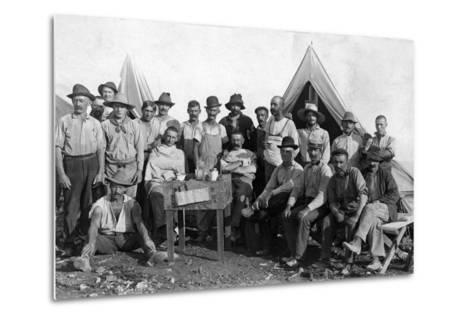 Oversea Railway Laborers Relax at their Camp, C.1907--Metal Print