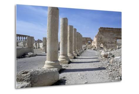 Ruins of Colonnade in Palmyra--Metal Print