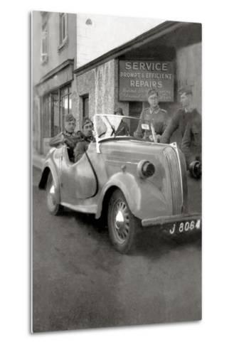 A Group of German Soldiers with a Standard Eight Car with a License Plate of Jersey--Metal Print