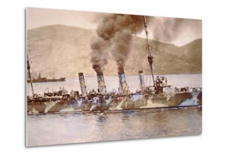 British Cruiser in Camouflage Paint in the Dardanelles, 1915--Metal Print
