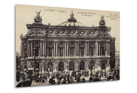 Postcard Depicting the Facade of the Palais Garnier--Metal Print