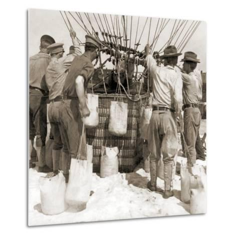 Attaching Sandbags to the Basket of a Balloon, Fort Myer, USA, 1907--Metal Print